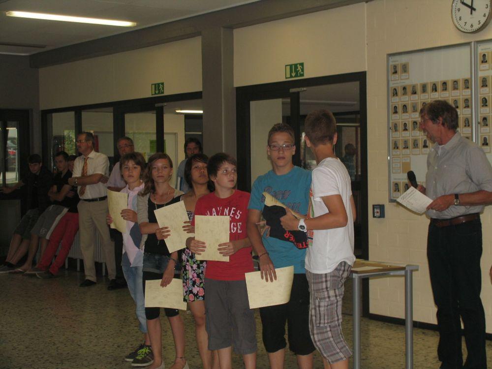 Ehrungen der Sportler (letzter Schultag 2011/2012)