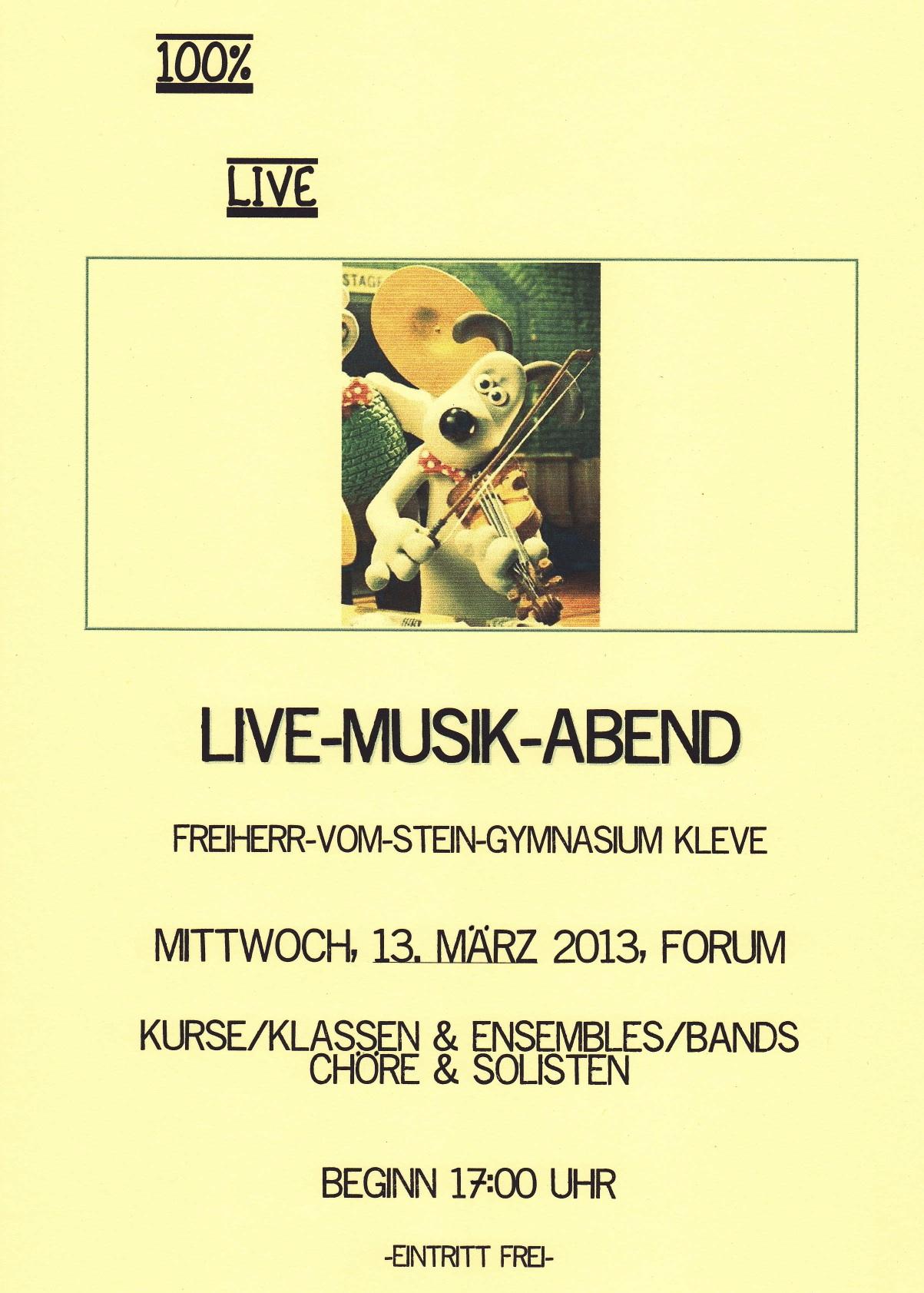 Herzliche Einladung zum Live-Musik-Abend 2013!