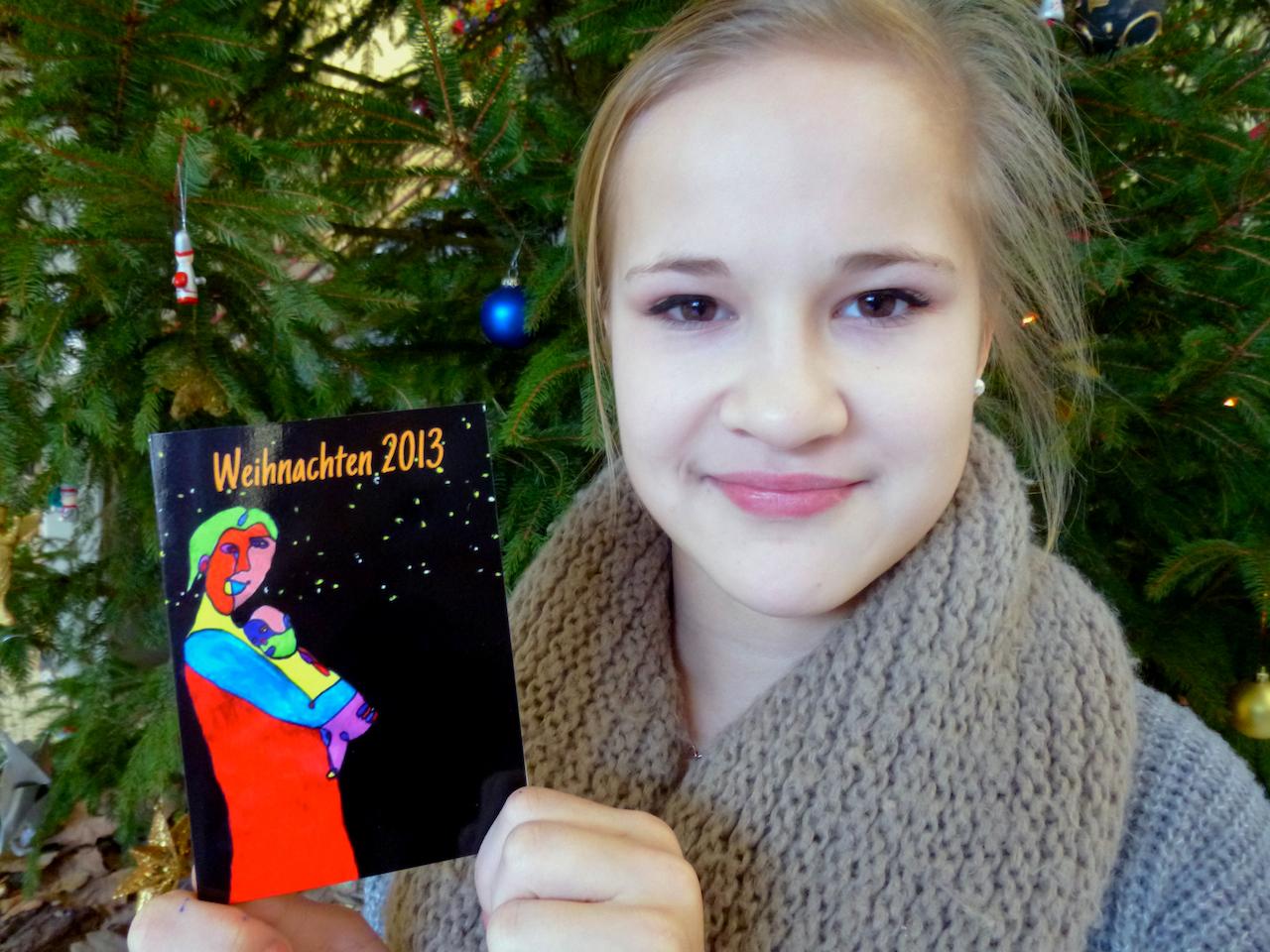 Modernes Marienbildnis als Weihnachtsgruß