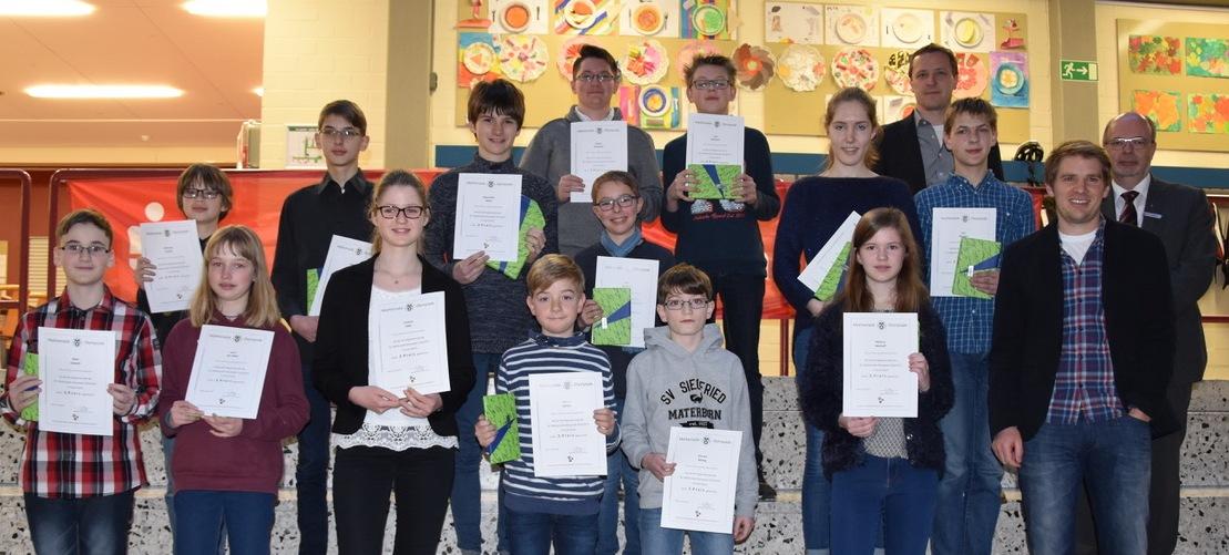 Erfolgreiche Steiner: Siegerehrung der diesjährigen Kreisrunde der Mathematik-Olympiade