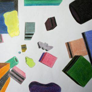 Buntstiftzeichnung Zentralperspektive Haribo-Wirbel - ein Kunstprojekt des Jg. 9